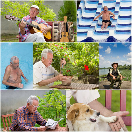 music therapy: Collage of senior man activities in retirement