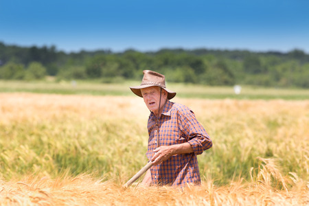 Conceived old man farmer resting in barley field after hard work photo