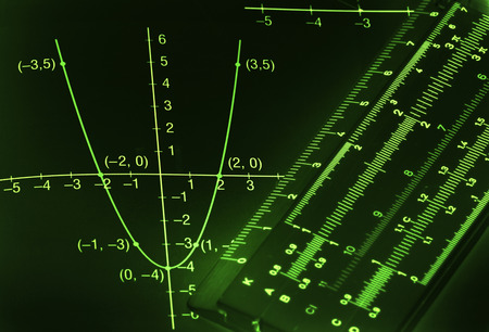 Abstract dark mathematical background with light green figures and graphs