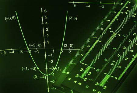 Abstracte donkere wiskundige achtergrond met licht groene cijfers en grafieken Stockfoto
