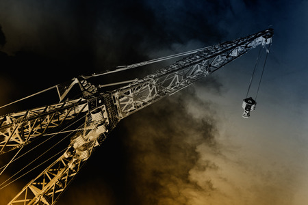 building industry: Infrared dramatic image of crane in building industry Stock Photo