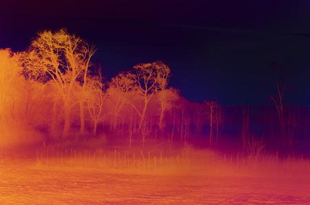 Orange and red landscape of plains on foggy morning photo