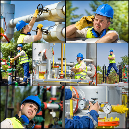 Collage of oil and gas industry worker on plant photo