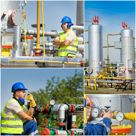 Collage of oil and gas industry engineer on plant photo