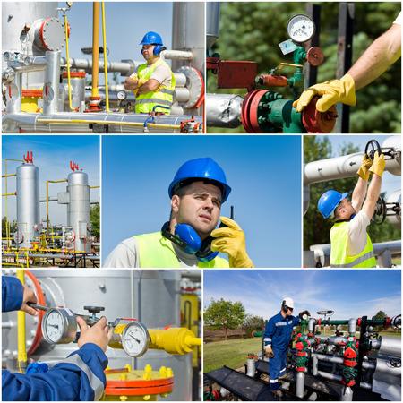 Collage der Öl- und Gasindustrie Arbeiter auf Pflanzen Standard-Bild