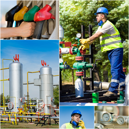 Collage of oil industry worker on plant photo