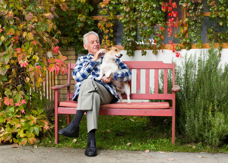 Senior man hugging and playing with dog on bench in courtyard photo