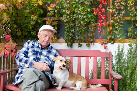 play the old park: Old man playing with dog on bench in courtyard Stock Photo