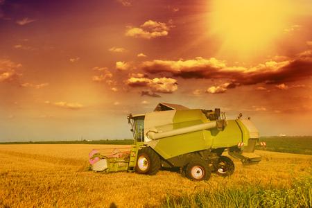 cosechadora: Cerca de la cosechadora en el campo en llanuras f�rtiles Foto de archivo