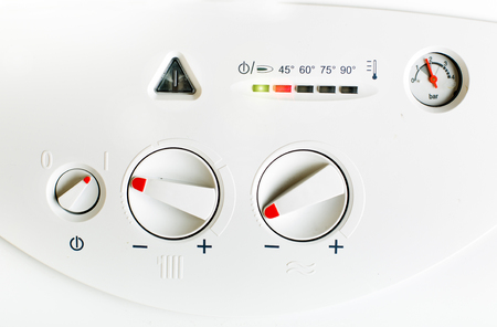 Detail of control panel of house heating boiler