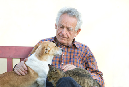 pet therapy: Senior man with dog and cat on his lap on bench