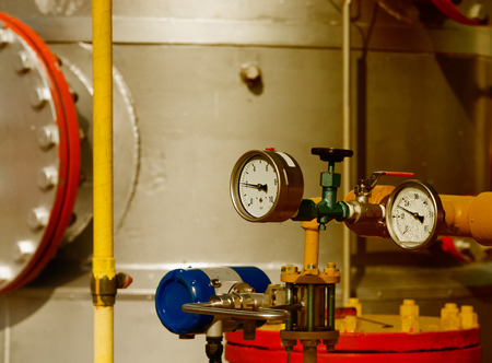 barometer: Close up of barometer in natural gas production industry Stock Photo