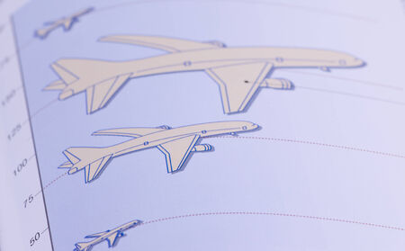 achivement: Conceptual graph of applied science with airplane drawings