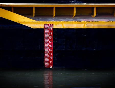 tanker ship: Water level meter on the tanker ship