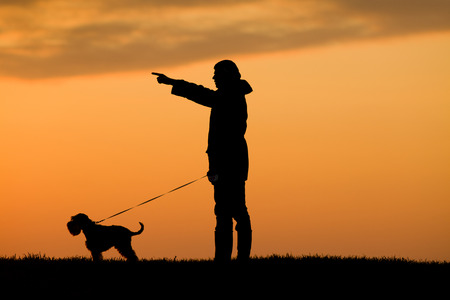 Silhouette of young man in jacket walking dog in the evening photo