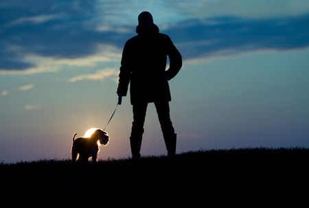 miniature dog: Silhouette of young man in jacket walking dog in the evening