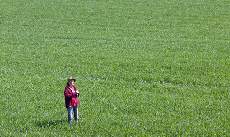 looking ahead: Proud old farmer standing in green wheat field in spring time and looking ahead