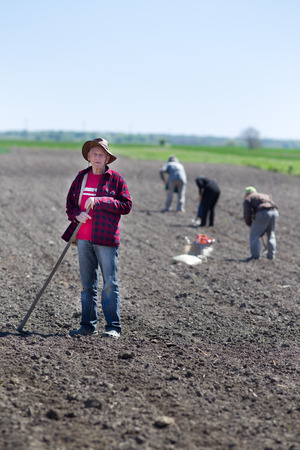 fertile land: Senior peasant with hoe standing on fertile land, other peasants hoeing and sowing in background
