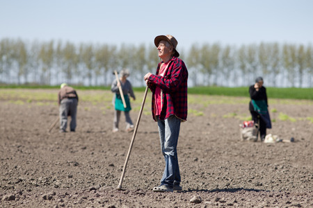 Senior peasant with hoe standing on fertile land, other peasants in background