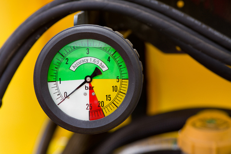 manometer: Close up of colorful manometer on agricultural machinery