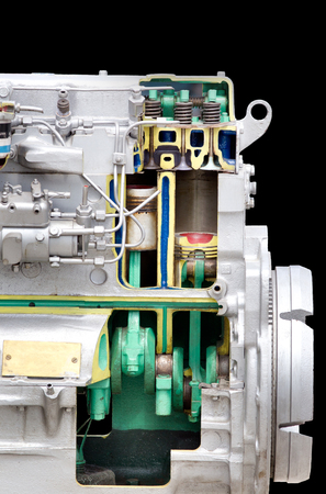 inner cylinder: Close up of diesel engine section isolated on black background Stock Photo