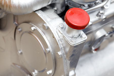 injection valve: Close up of cap screw on the engine Stock Photo