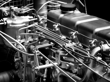 stainles steel: Close up of fragment of automobile engine, black and white image