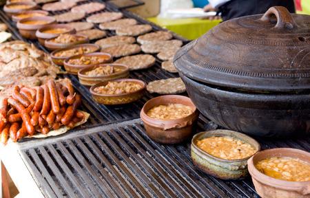 balkan: Traditional Balkan food prepared on barbecue on the fair
