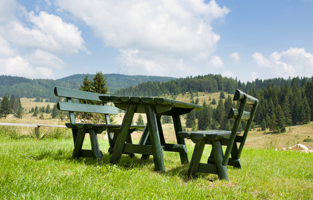 hill of tara: Wooden benches and table at Tara mountain in Serbia