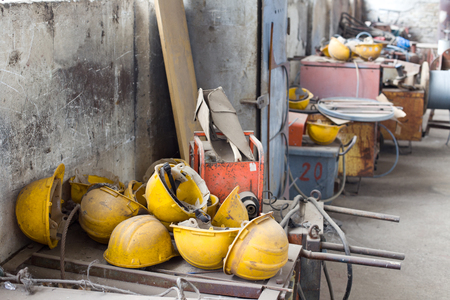 messy room: Messy storage room and workshop of shipyard industry Stock Photo
