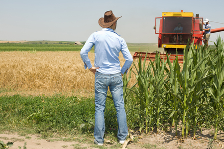 Young attractive farmer with cowboy hat standing in the field and looking at combine harvester