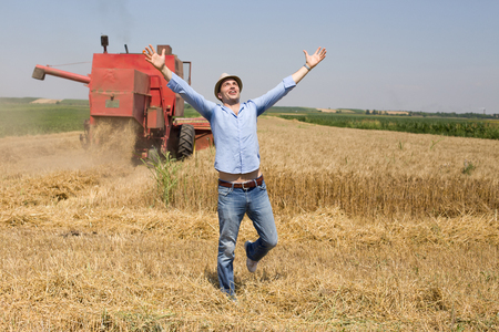 raised arms: Satisfied man with raised arms looking at sky in the field with combine harvesting in background