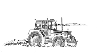 Abstract image of tractor working in the field, artistic effects