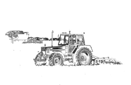 cultivated land: Abstract image of tractor working in the field, artistic effects