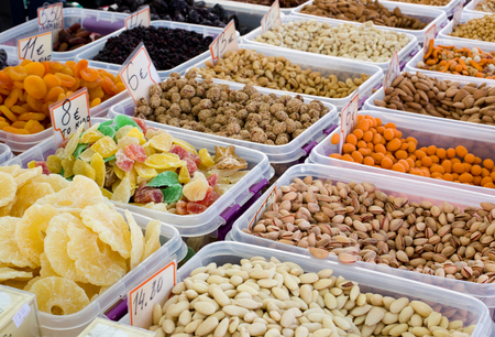frutas secas: Variety of nuts desserts and dry fruits in assortment for sale