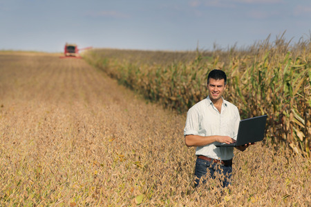 harvest: Young landowner with laptop supervising soybean harvesting work