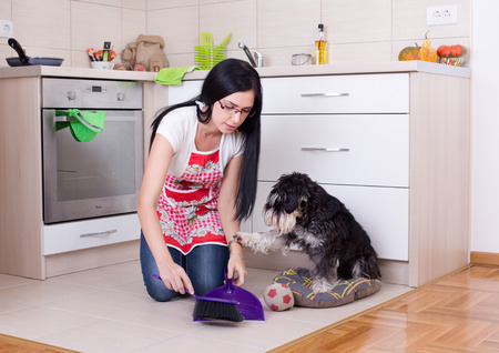 broom: Young woman squatting on knees while cleaning after her dog in the kitchen