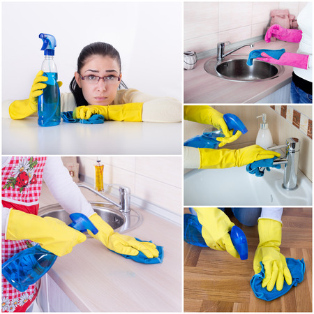 young woman: Collage of unhappy smiling housewife cleaning house