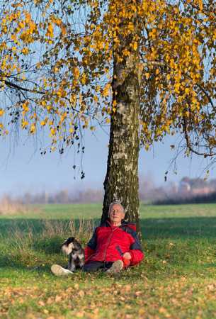 amigos abrazandose: Hombre mayor con su perro Schnauzer miniatura sentado en la hierba que se inclina en �rbol de abedul con las hojas amarillas
