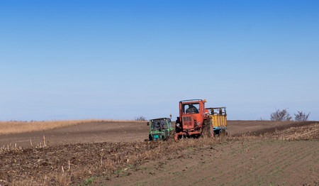 dumping: Two tractors working on fertilizing soil with natural manure and plowing after dumping in autumn