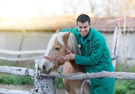 persona enferma: Veterinario sonriente joven abrazando a caballo en el rancho Foto de archivo