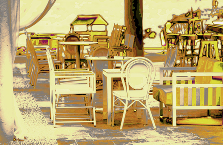 thassos: Cafe bar on the beach of Greece island Thassos, artistic image technique