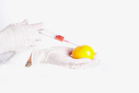 genetic food modification: Close up of scientists hands with protective gloves holding lemon and applying injcetion. GMO concept Stock Photo