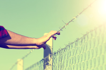 bigotry: Close up of male hands holding barbed wire fence and begging for help