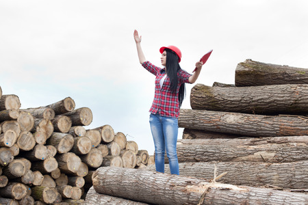 raised arms: Young female forestry engineer standing beside cut logs with raised arms explaining something Stock Photo