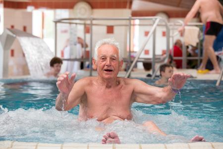spa and resort: Senior man enjoying in spa resort