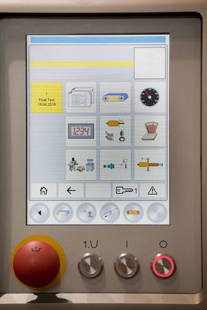 food industry: Control panel with buttons and touch screen on the machinery in food industry