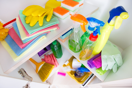 pantry: Top view of cleaning supplies and tools arranged on shelves in pantry