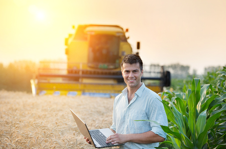 Young attractive farmer with laptop standing beside corn field, combine harvester working in wheat field in background