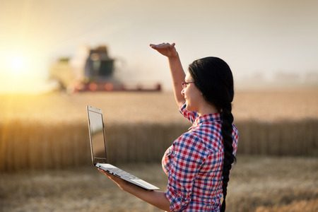 looking ahead: Young farmer girl with laptop standing in front of combine harvester, looking ahead and blocking sun with hand